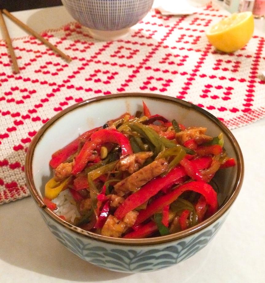 Szechuan tofu stir-fry(vegan)