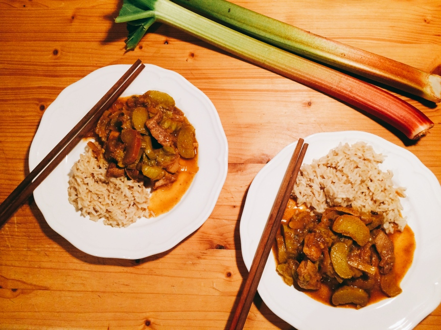 Rhubarb Five Spice Pork or Tofu (vegan or with meat)