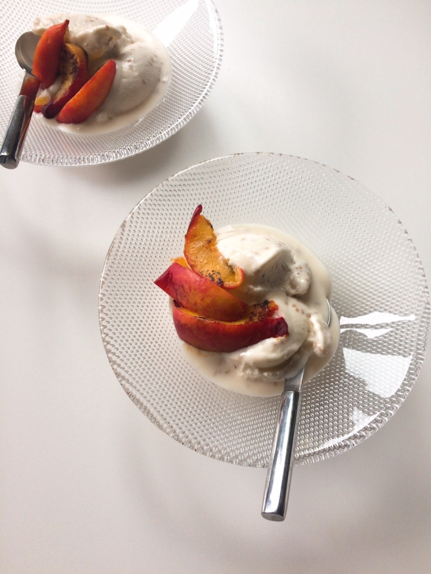 Yoghurt-honey-sesame ice cream with roasted nectarines